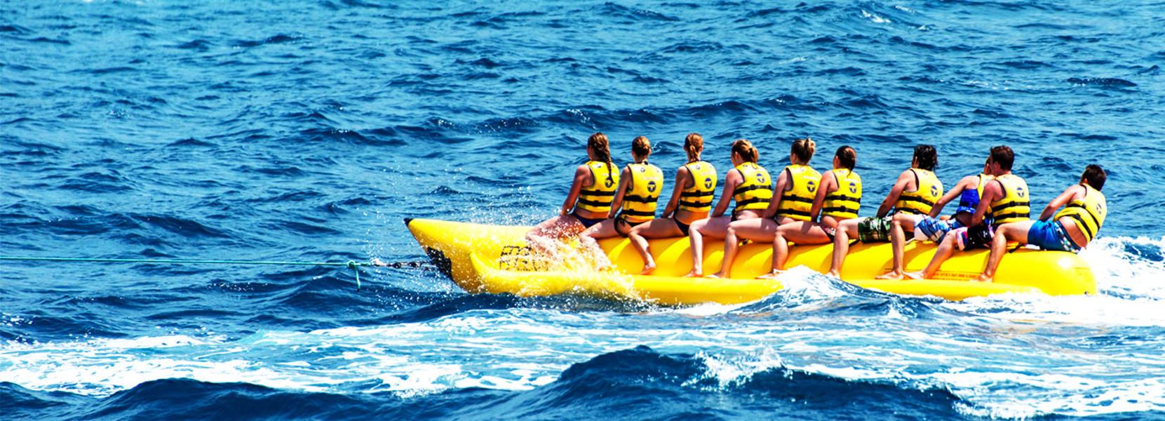 1,分界洲岛,蜈支洲岛,西岛,观光和玩水,水上摩托,水上飞鱼,水上香蕉