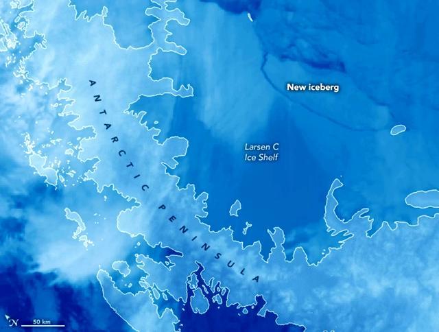 南极冰架崩塌后第一幅照片,从太空看5800平方公里巨大冰山