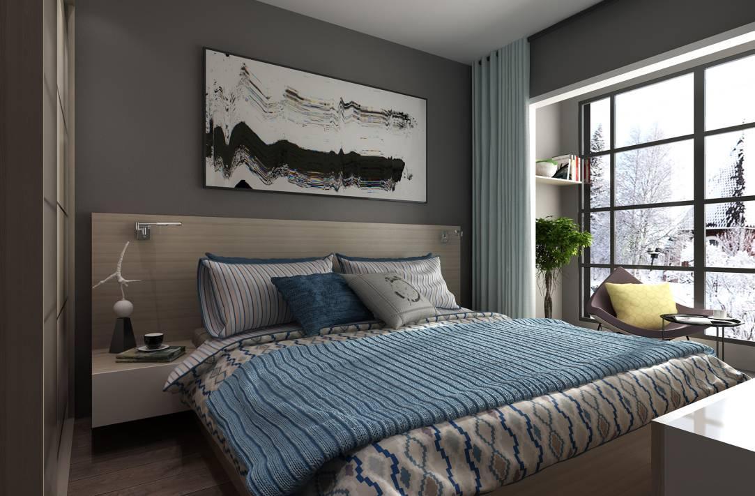 明亮统一的卧室 让空间更加通透 一体式床头柜简洁实用 超大衣柜设计