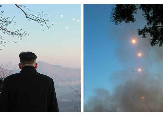 3月6日,朝鲜领导人现场指导火星炮兵部队发射训练