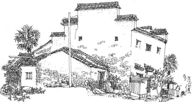 一般建筑景观商业商业手绘表现,用接近线描的方式走进画乡皖南屏山吧.