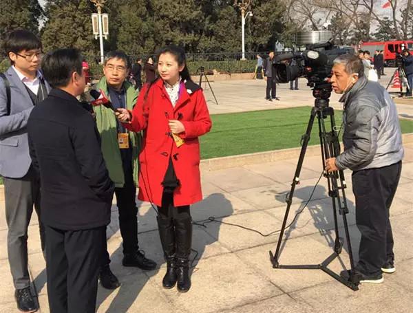 北京電視臺記者金蕾采訪政協委員