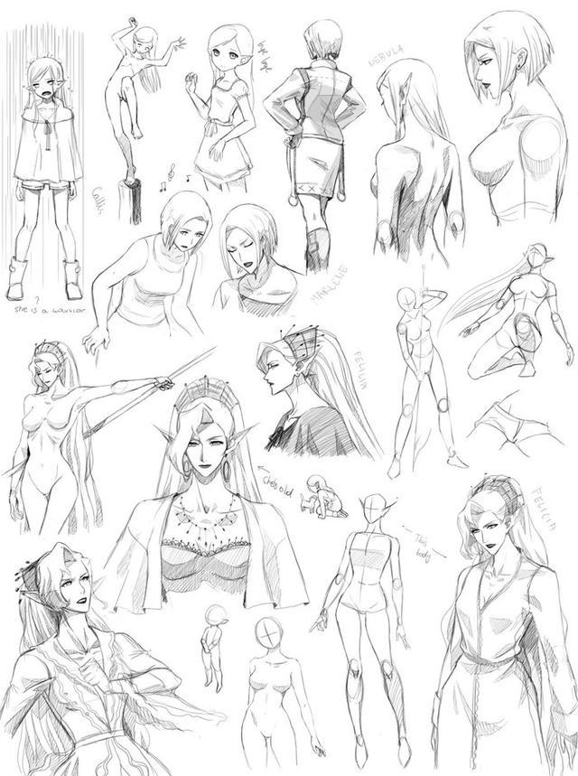 动漫人物女体的走,跑,跳,站,坐绘画参考