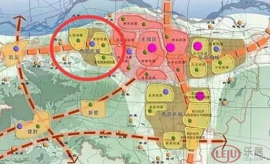 (郑州区域板块规划图)