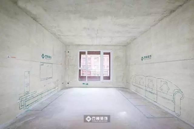 电路施工展示   餐厅放线展示餐厅位置包括餐桌餐椅在内的墙面和