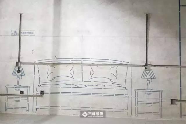 电路施工展示   卧室衣柜放线展示衣柜不光尺寸,就连内部布局都为您